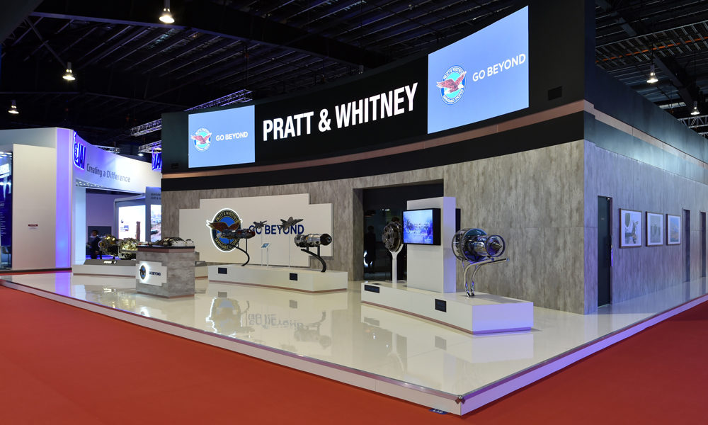 Pratt & Whitney booth LED walls innovation