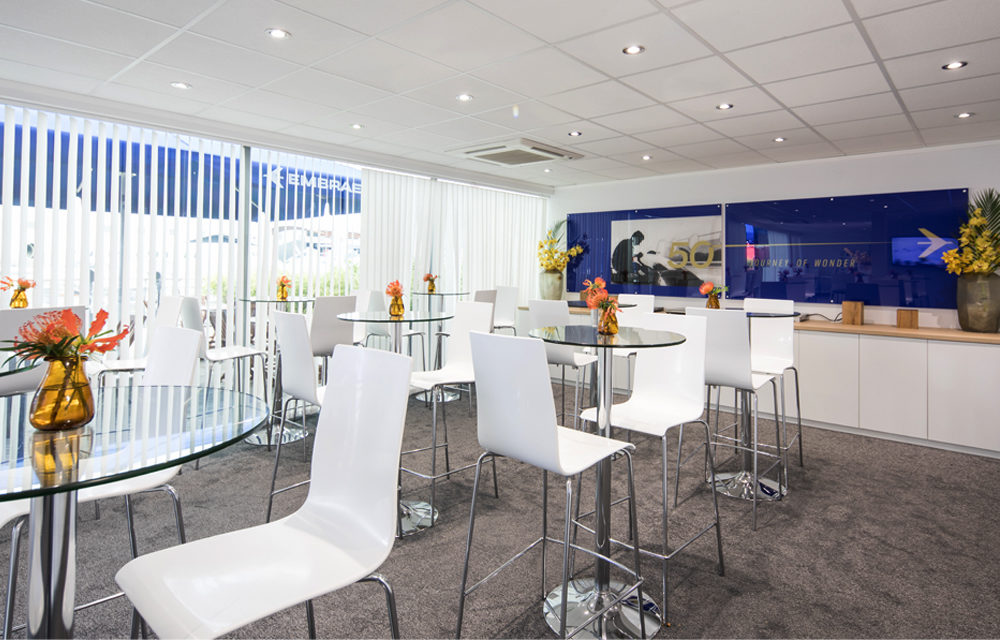 Embraer chalet lounge dining at Paris air show
